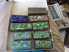 9 vintage postage stamp trinket boxes brass enamel colorful 60 + years old