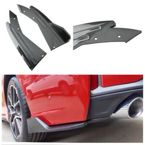 2PCS Glossy Carbon Look Car Bumper Rear Lip Angle ABS Splitter Spoiler Diffuser