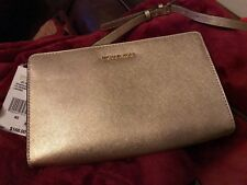 NEW Michael Kors Jet Set Travel Pale Gold Large Leather Crossbody/Clutch Bag