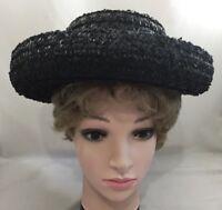 1950s Ladies Womens Shillito's Designer Hat Black Ribbon Wide Rolled Brim 3726B
