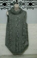 Heather B Long Sweater Top Size XL Gray Sleeveless Women's