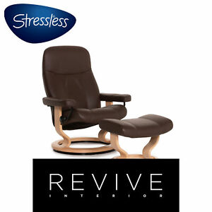 Stressless Consul Leather Incl. Stool Armchair Braun Dark Brown Relaxing