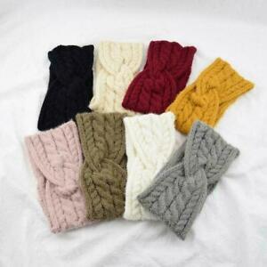 Women Ear Warmer Elastic Hairbands Knitting Wool Headbands Twist Headwraps K6F9