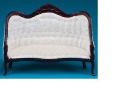Dollhouse Miniatures 1:12 Scale Vicorian Sofa, Mahogany,  White Brocad #CLA10698