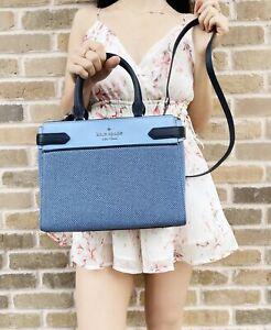 Kate Spade Staci Medium Satchel Crossbody Bag Blue Multi Tweed Canvas Leather