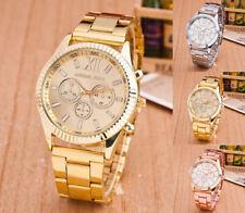 Unisex Fashion Women men Lady diamond crystal stainless steel quartz Wrist Watch
