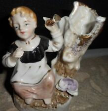 Vintage Pico Porcelain Girl Gold Trim Ceramic Planter  Victorian Figurine Japan