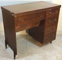 RARE VTG ELNA SU 62C SEWING MACHINE CABINET DESK FREE ARM TABLE MCM