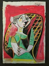 PABLO PICASSO        DRAWING SIGNED  WATERCOLOR ON  PAPER OF THE 900s