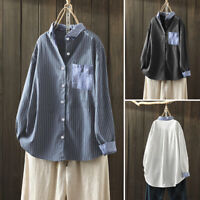 Womens Linen Cotton Buttons Down Tops Striped Patchwork High Low Shirt Blouse US