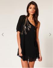 NWT ASOS TFNC Dress One Shoulder Layered Hem Black gold Embelishment S