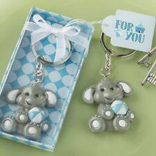 25 Blue Baby Boy Elephant Key Chain Birthday Party Baby Shower Favor