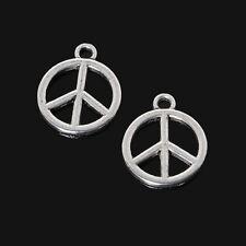 20 x Silver Tone Peace Charms 15mm x 12mm Metal Pendant Art Craft Symbols Sign