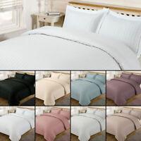 Single & Double Satin Stripe Duvet Cover with Pillow Case Quilt Bedding Set