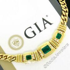 Collares y colgantes de joyería con gemas verdes de oro amarillo de 18 quilates