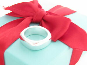 Tiffany & Co Silver Square Cushion Band Ring Size 7