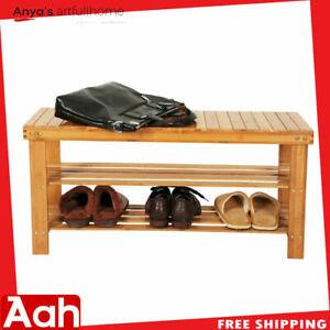 3 Tier Bamboo Shoe Rack Bench Storage Shelf Organizer Entryway Home Furni Wood