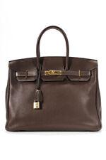 Hermes Birkin Clemence 35 наплечная сумка коричневый золотой тон