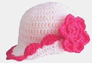 BABY GIRLS WHITE SUN HAT new shower gift 100% cotton flower brimmed summer cap