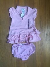 Polo Ralph Lauren Baby Girl Dress & Diaper Cover 9m Pink NEW