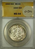 1945 Walking Liberty Silver Half Dollar 50c Coin ANACS MS-64 Lightly Toned GBR