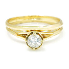 Round Diamond Solitaire Engagement Ring Set 14K Yellow Gold .45ct