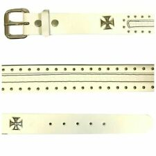 Authentic LUCKY 13 MENS BELT OLD SPEED Embossed Leather Belt WHITE NEW