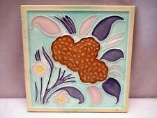 Antique Tile Ceramic Porcelain Flower Leaf Design By Dk Japan Architectural *255