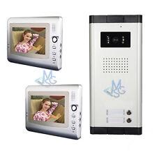 Videocitofono Bifamiliare 2 Monitor Kit Completo Telecamera Esterna Foto 4 Fili