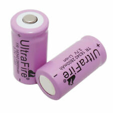 2x 16340 Battery 3.7V 2800mAh Li-ion Rechargeable Low Drain Cell For Torch UK