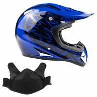 Snowmobile Helmet Snocross Blue Splatter With Breathbox Adult DOT Snow Open Face