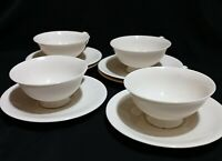 Antique Footed Bone China 4 Tea Cups & 4 Saucers