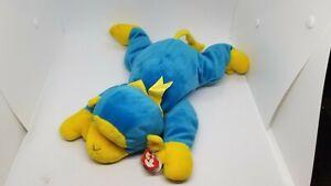 "Ty Pillow Pal 14"" Swinger Beanie Baby Blue & Yellow Plush Monkey 1998 Laying"