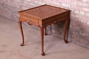 Baker Furniture Burled Walnut Queen Anne Tea Table