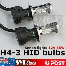 Pair 55W H4-3 AC Hi/Low Beam HID Xenon Headlight Bulb Globe Light 4300K -15000K