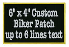 "Custom Embroidered Name Patch Motorcycle Biker Tag Personalized Badges 6"" x 4"""