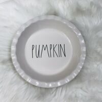 "Rae Dunn By Magenta PUMPKIN Pie Plate Dish 10"" LLB Farmhouse Scalloped Edge New"