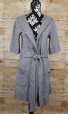Banana Republic Hooded Cardigan Sweater Gray Long Belted Wool Cashmere Small S