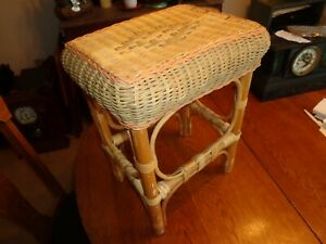Vintage Mid Century Modern  Wicker Rattan Foot Stool Table Plant Stand