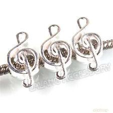 20x Wholesale Music Note Silvery Plated Zinc Alloy Beads Fit European Bracelet J