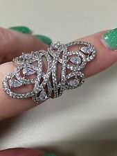 Victoria Wieck Stunning 925 Sterling Silver diamond sim Statement Ring Size 6