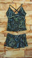 Womens  ATHLETA Blue/Brown  2 Pc Tankini -Swim Skirt Swimsuit Size 34C XS