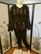 ZARA Black Cotton Blend Long Floral Embroidered Top 0881/405 Size XS