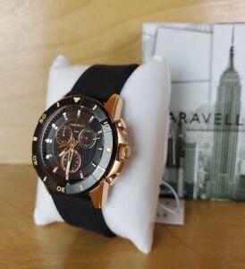 Caravelle Designed by Bulova 45B157 Quartz chronograph Watch Silicone Strap 48mm