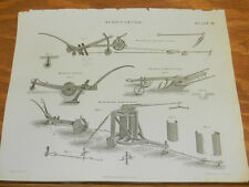 1824 Antique Print/AGRICULTURE///TYPES OF PLOUGHS