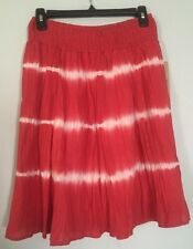 Life Style Red White Tie Dye Design Wrinkle Lined Small Skirt Knee Length NWT$46