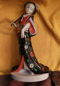 Herend  Black Dynasty Large Geisha Girl