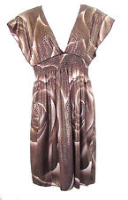 LADIES SIZE 10/12 BRONZED DRESS ELASTICATED
