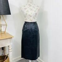 Vintage Black Leather Pencil Skirt Soft Buttery Leather High Waist Size 6 - 8