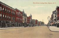 Batavia New York~Main Street West~Phelps~Ice Cream~Curly Lamp Post~1908 Postcard